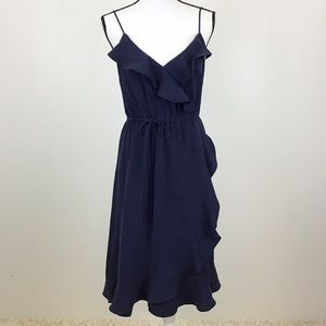 J Crew 8 Navy Blue Drapey Ruffle Faux Wrap Dress